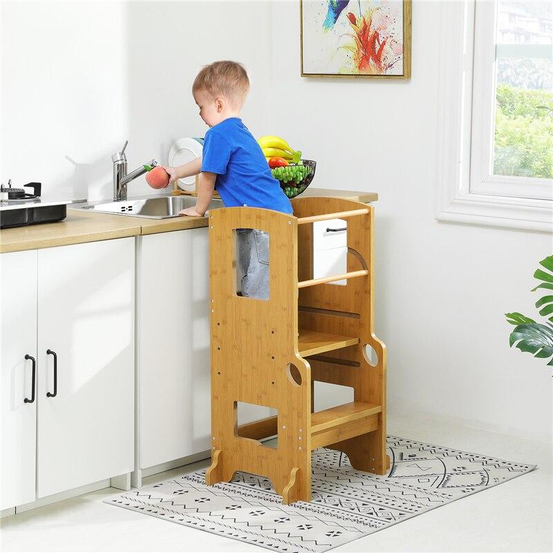 Регулируемая по высоте детская вспомогательная табуретка прочная башня для малышей для кухонной ступенчатой лестницы