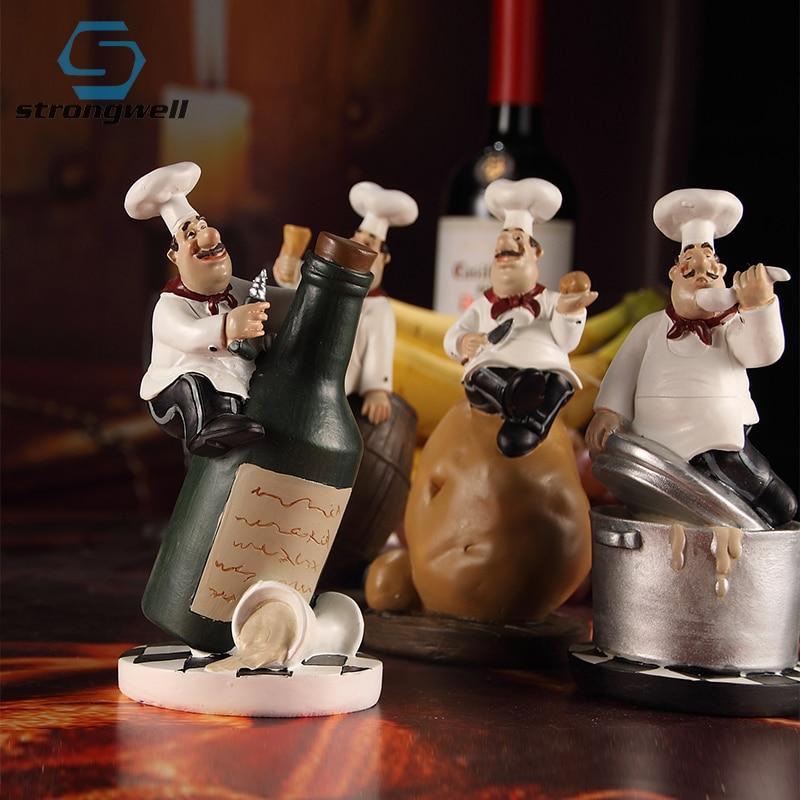 Strongwell estilo americano resina Chef estatuilla creativo blanco Top sombrero cocina decoración hogar Decoración arte coleccionable