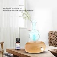 Diffuseur dhuile essentielle sans eau  nebuliseur aromatique en verre de bois pour huiles essentielles avec lumiere LED coloree pour chambre a coucher
