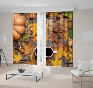Curtain Pumpkin 6chestnuts Pinecones Leaves and Cup of Coffee on Wooden Table Autumn Them Decor Brown