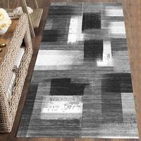 Else Black White Mixed Stripes Lines Nordec 3d Print Non Slip Microfiber Washable Long Runner Mat Floor Mat Rugs Hallway Carpets