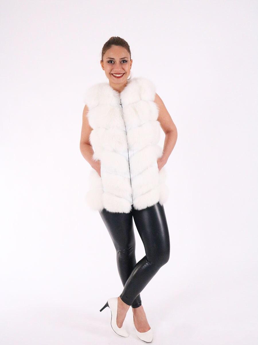 WHITE Women Genuine Sheepskin Leather With Real Fox Fur Vest Whole skin Natural Fox Fur Coat Luxury Outwear 2021 New Turkish