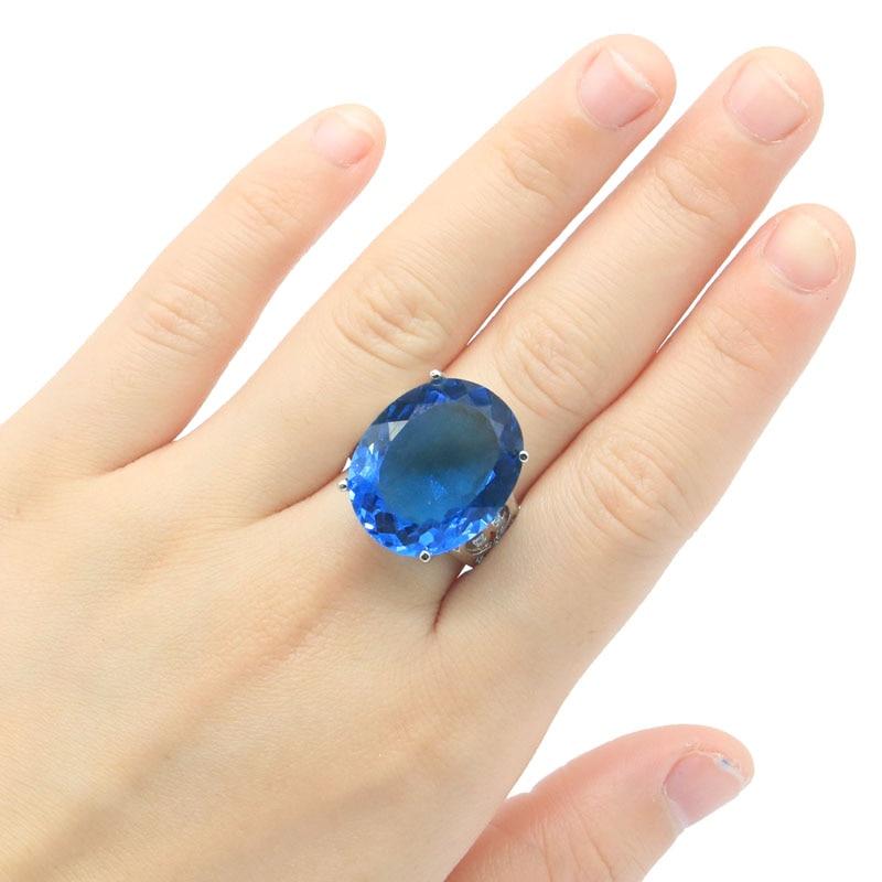22x18mm Deluxe Erstellt 22x18mm London Blau Topas frau Schmuck, Der Damen Silber Ringe