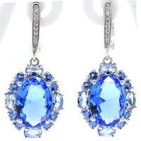 37x12mm jazaz 9 67g created violet tanzanite london blue topaz pink tourmaline cz gift ladies 925 solid sterling silver earrings