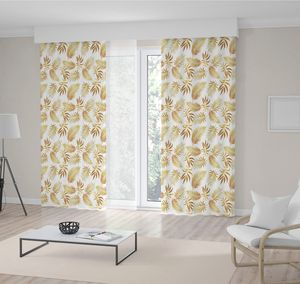 Curtain Gold Palm Tree Leaves Pattern Tropical Exotic Jungle Floral Illustration Autumn Nature Theme Art