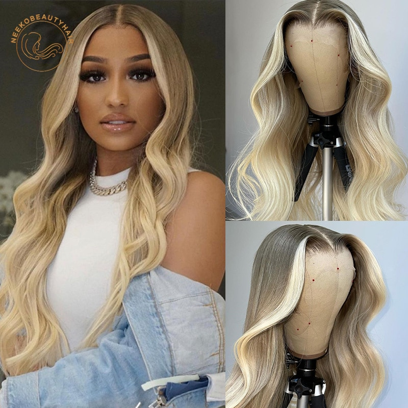Ombre Platinum Blonde Lace Frontal Wigs Wavy 13X4 Lace Front Wig Full Density 2 Tones Colored Human Hair Wigs Closure Wigs
