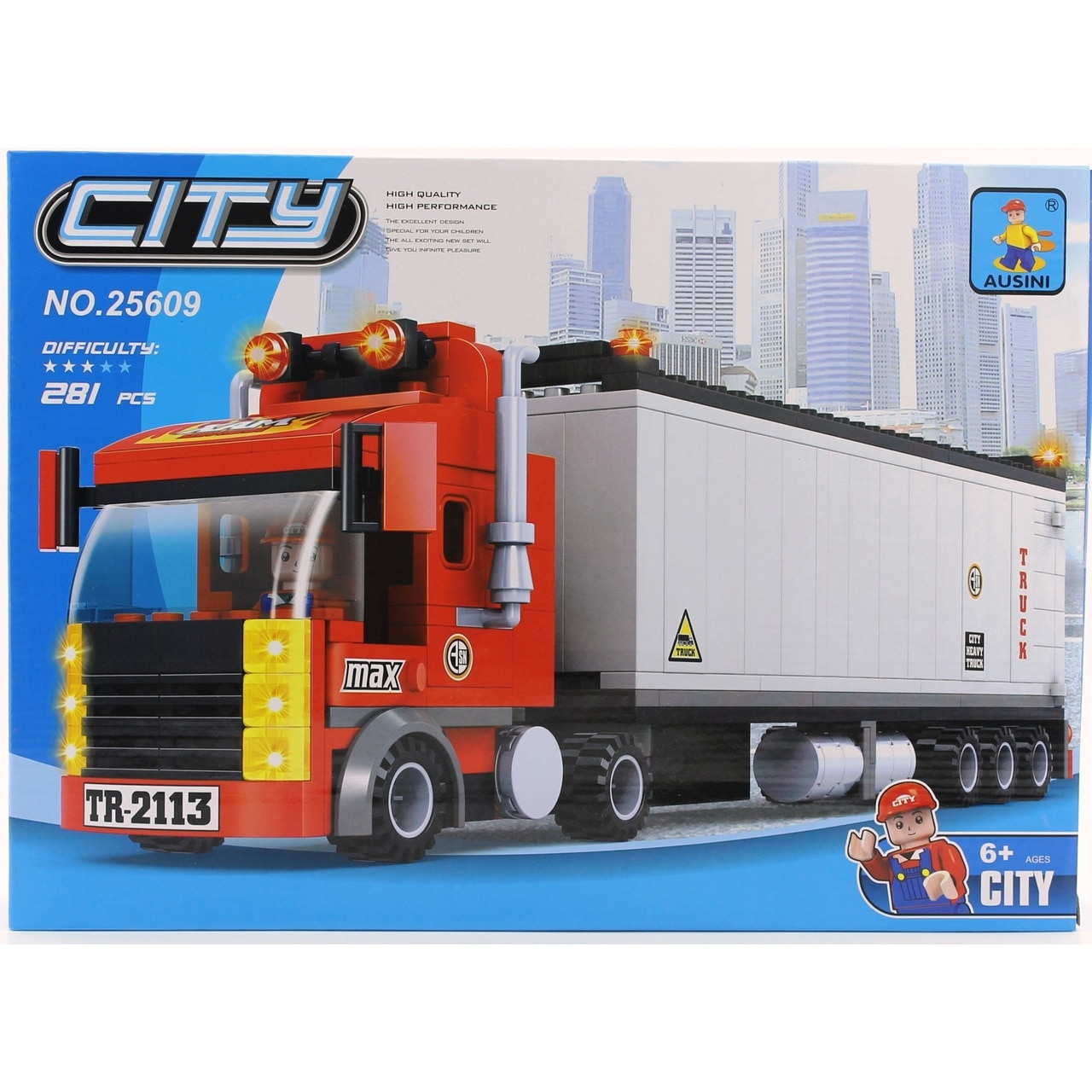 Ausini City contenedor remolque camión Lego Set 281 piezas