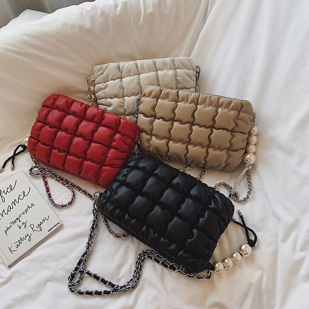 Mode Leder Messenger Taschen Frauen Reine Leichte Mode Hohe-qualität Perle Weiche Oberfläche Anhänger Schulter Handtasche
