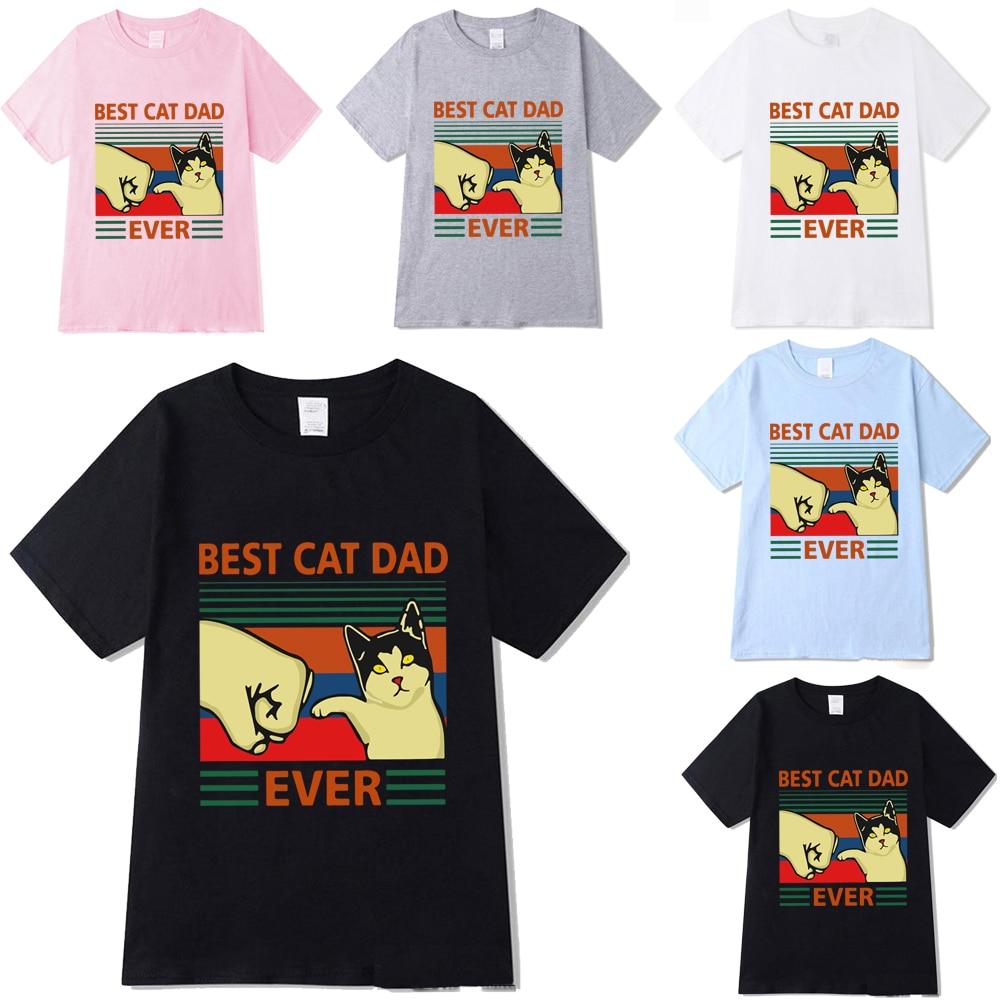 Летние рубашки с круглым вырезом и коротким рукавом Best Cat Dad Ever