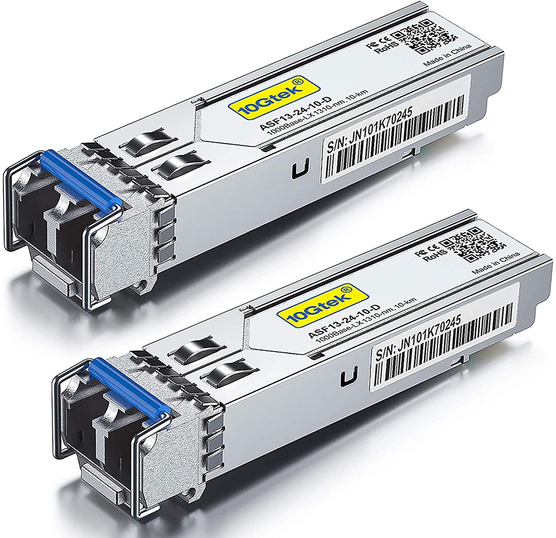 2Pack 1.25G SFP LX Transceiver 1310nm SMF, up to 10 km for Cisco GLC-LH-SMD etc