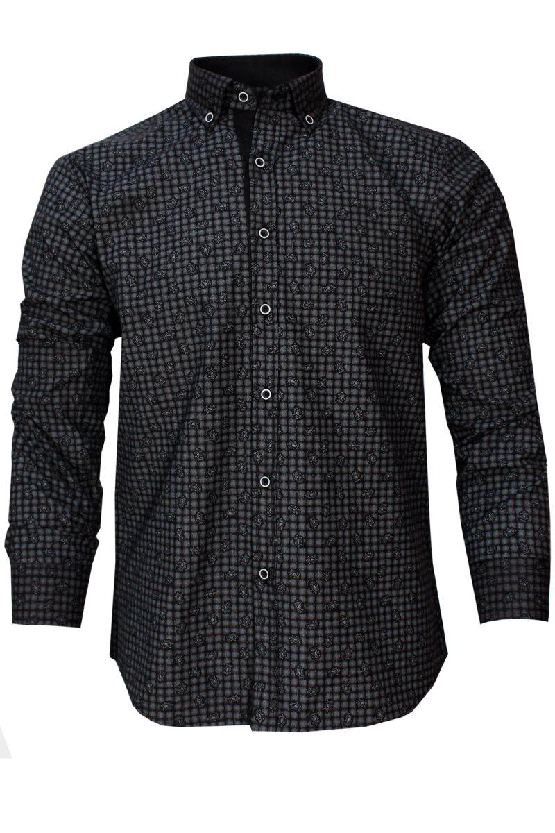 Varetta Men Fashion Casual Long Sleeved Printed shirt Slim Fit Male Social Business Dress Shirt Brand Men Clothing Soft Comfortable Stitching Fashion Plaid Polka Dot Men Shirt Casual Shirts For Men Camisas Masculina