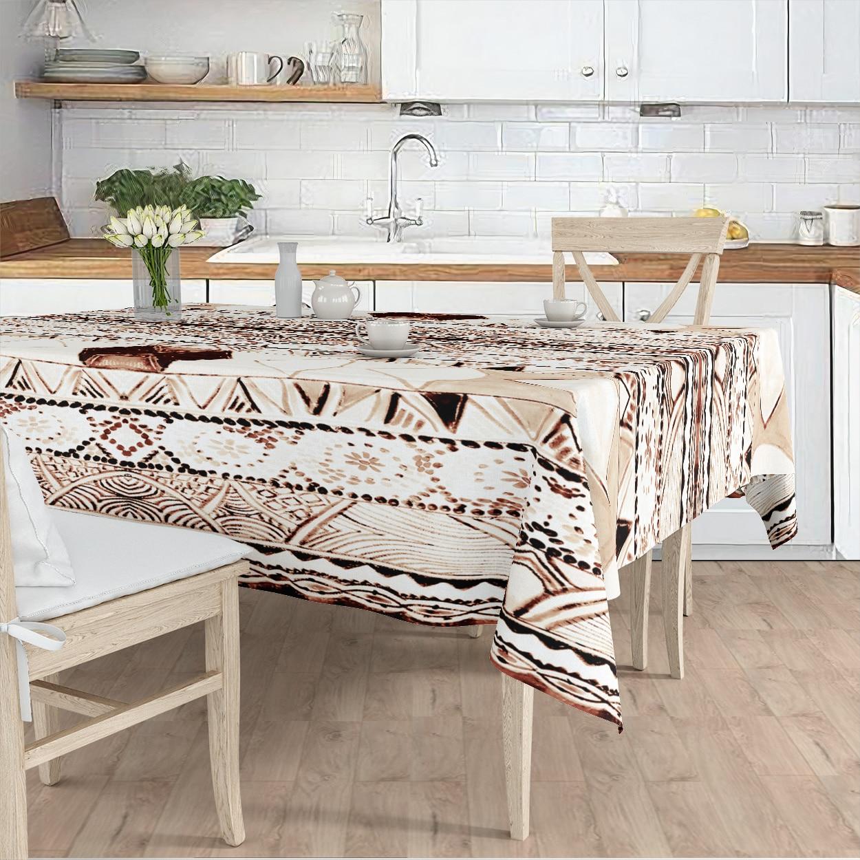 مفرش المائدة غرفة المعيشة المطبخ أبيض اللون العرقية منقوشة مايكرو غطاء من القماش عداء نمط شحن مجاني