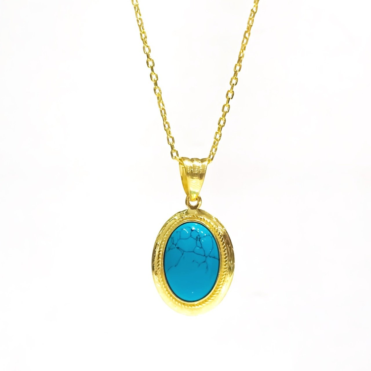 Trend Gold Plated Silver Turquoise Stone Small Size Green Almond Pendant