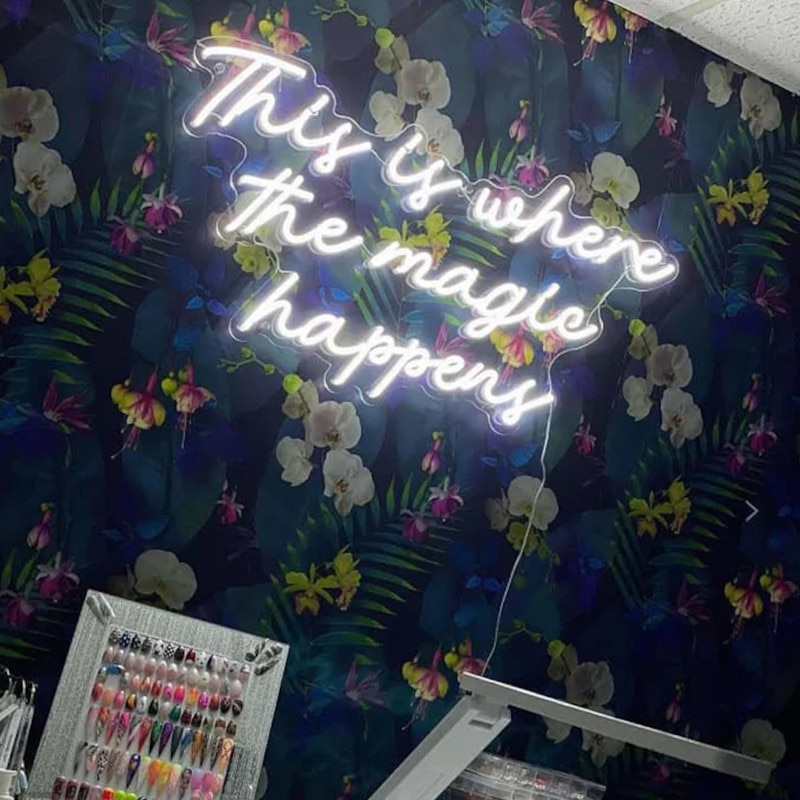 This Is Where the Magic Happens Neon Sign Wall Decor Neon LED Sign Light Wedding Party Housewarming Gift Store Room Decor enlarge