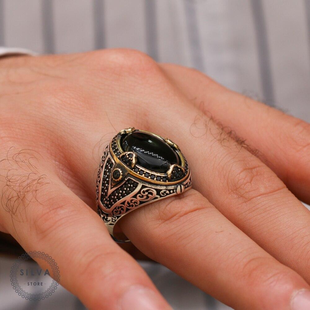 خاتم رجالي فضة عيار 925 بحجر العقيق مجوهرات رجالية مختوم بختم الفضة 925 جميع القياسات متاحة