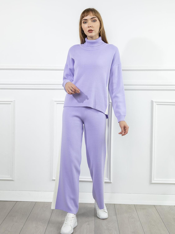 Women's Knitwear Oversized Turtleneck Sweater 2 Pieces Set Autumn Winter