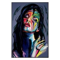 hand painted abstract portrait oil painting francoise nielly colorful palette knife canvas painting art poster decoration salon