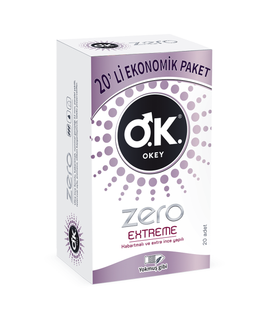 OKEY Zero Extreme 20 Pcs Condoms ORJINAL  SAFE SEX-CONTROLLED RELATIONSHIP SEX TOYS AND HELPERS FOR MEN WOMEN