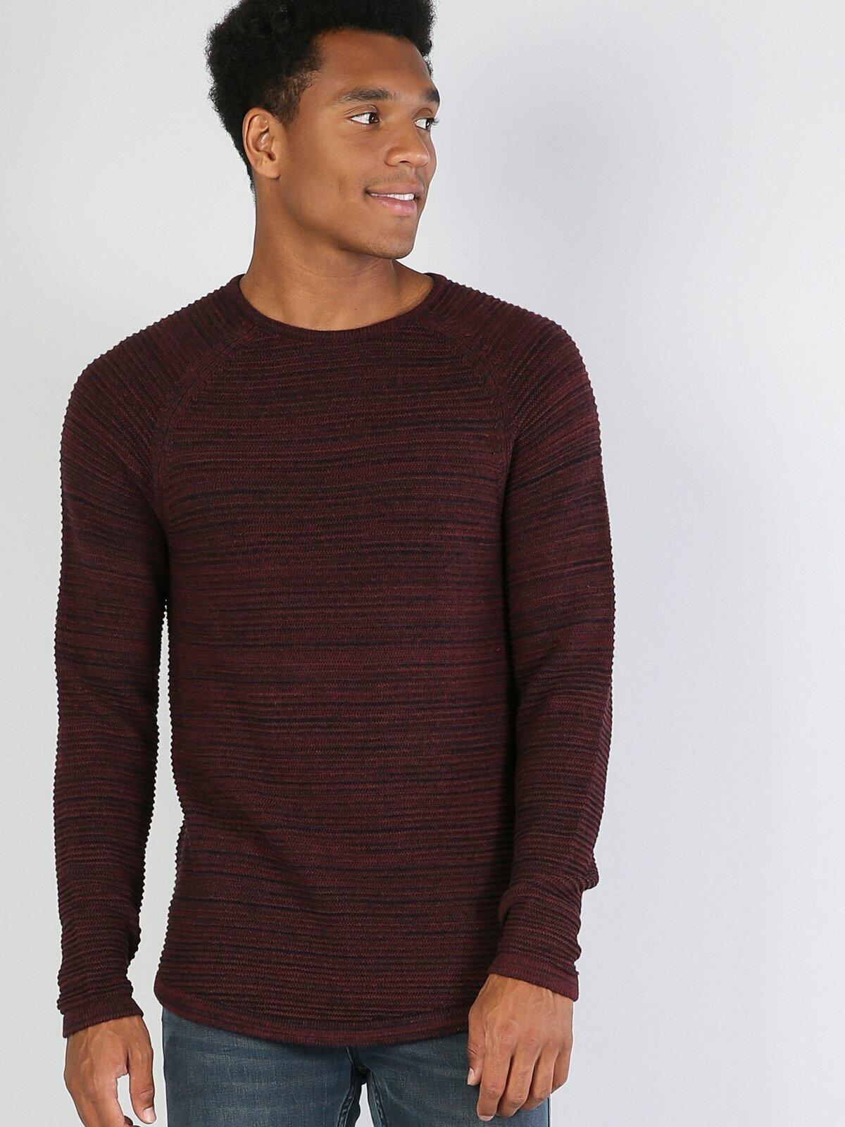 Colins Men Slim Fit Purple Sweaters Men's sweater fashion sweater outerwear,CL1035766