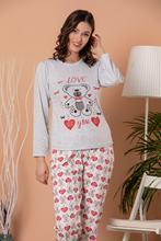 STRAWBERRY Women S Gray Melange Printed Long Sleeve Pajamas Suit