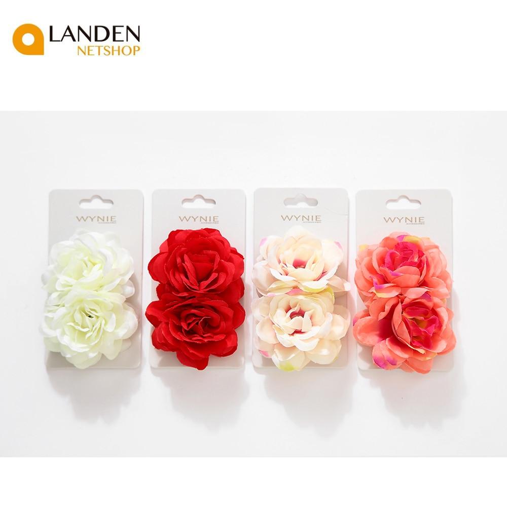 2 pcs/set Rosa Artificial flor broche Boda nupcial horquilla para fiesta mujeres pinzas para el pelo, accesorios para cabello