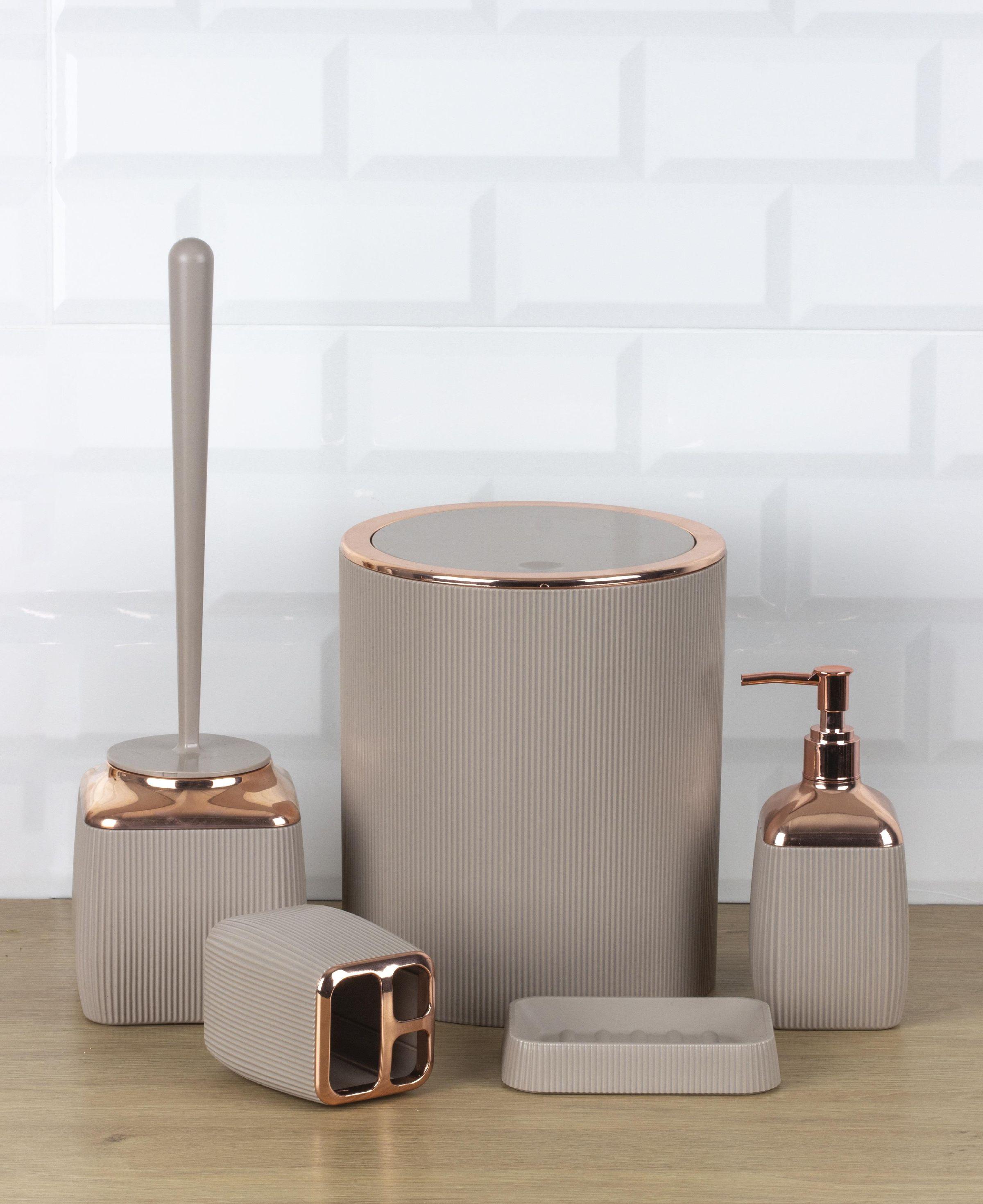 OceanLand Striped Rose Series 5 Pcs Bathroom Set Hard Plastic Toothbrush Holder Soap Dispenser Toilet Brush Dustbin enlarge