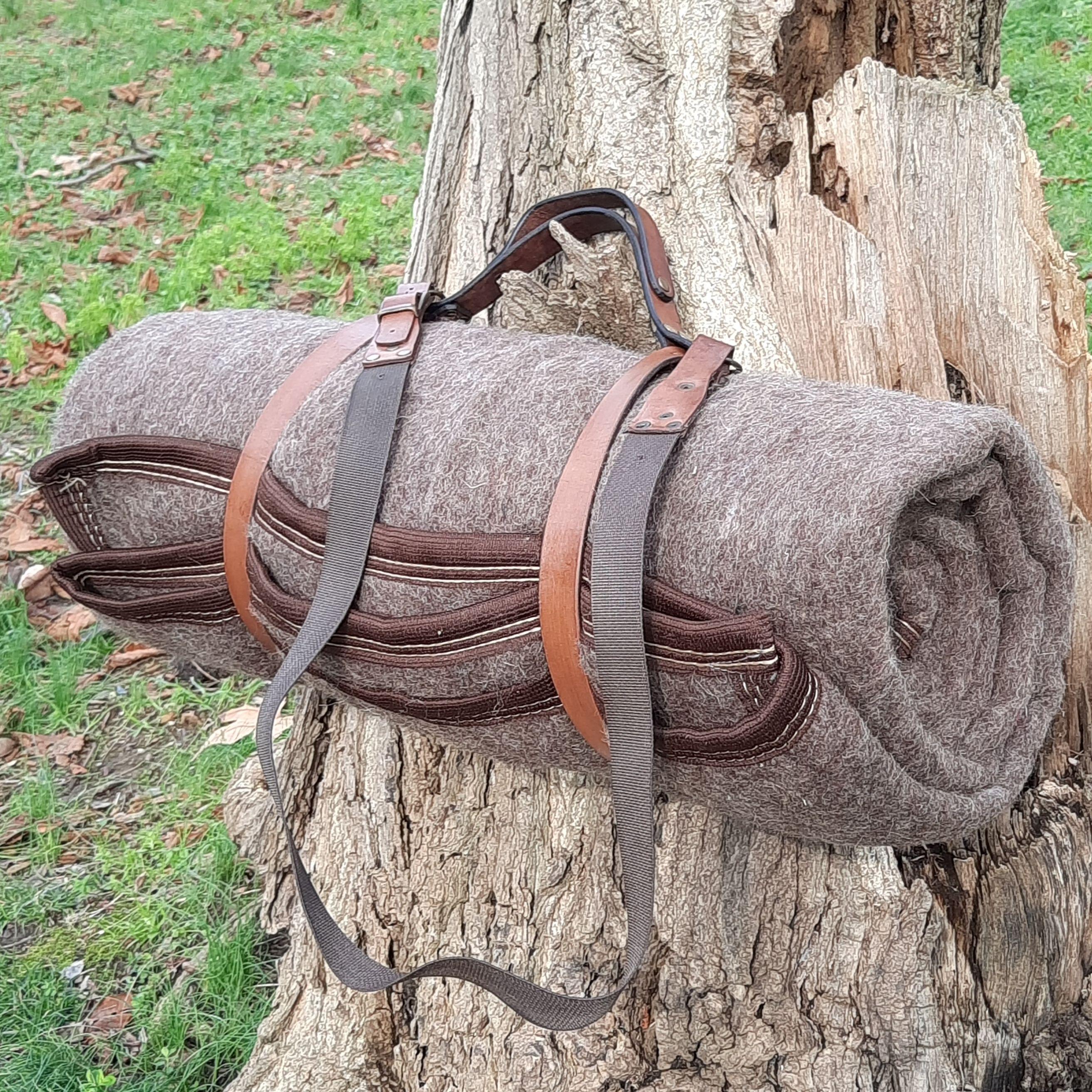 Thermal Wool Blanket Camping Survival Gear Handmade Leather Hanger Strap Sleeping Bag Emergency First Aid Warm Tool
