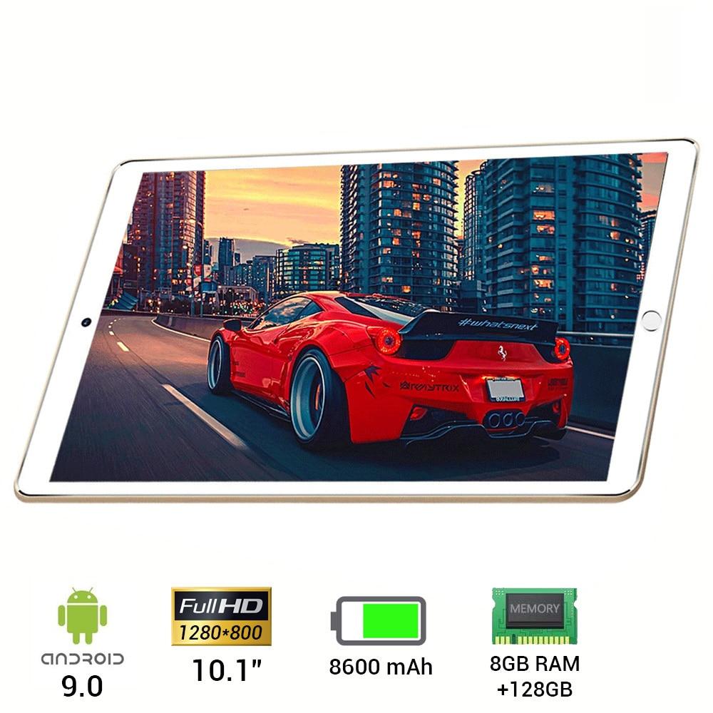Tablet de 10.1 pulgadas hd completo 1280*800 com android 9.0 com 128gb de almacenamiento interno e 8gb de ram com duplo sim wifi y 4g