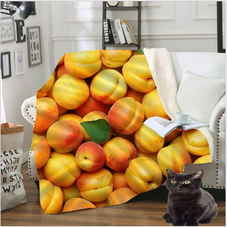 3D estampado de frutas de fresa de arándanos manta de Berry polar viajes colcha sofá mantener caliente a cobijas de felpa colcha B131-7