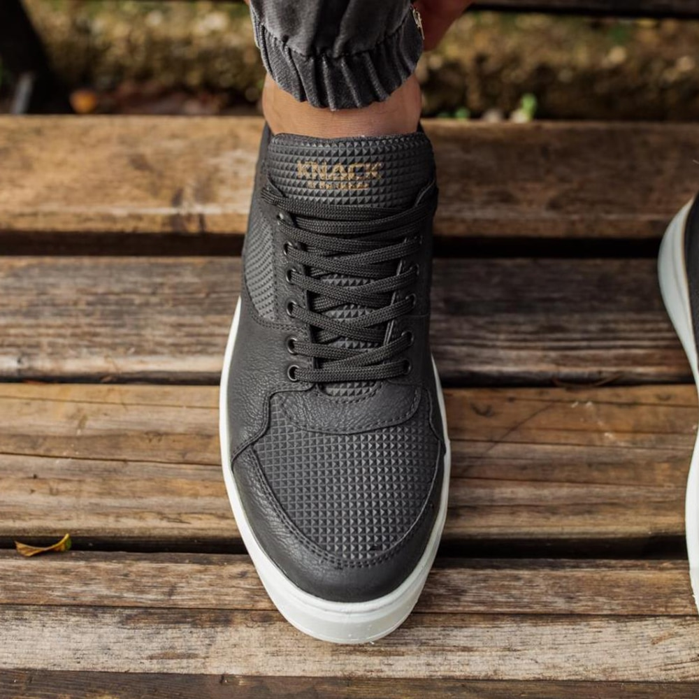Knack Casual Men's Shoes Black Color (White Sole) Faux Leather Stitched High Sole Summer Spring Comfortable  Use Walking Running Sports Shoes Mens Shoes Casual Men Sneakers Man Shoes High Quality Luxury Brand 035