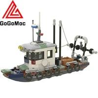 small coastal police fishing boat star building blocks moc high tech wars model trawler ship bricks diy toys for children gifts