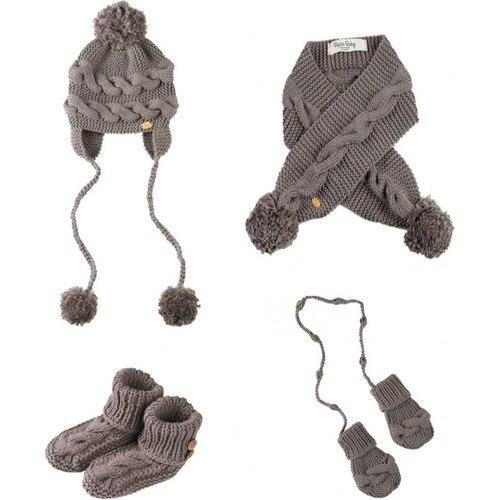 Handmade Gray Color Twist Scarf Set baby hat suit autumn winter knitted kids girl boy hat neck children soft beanie