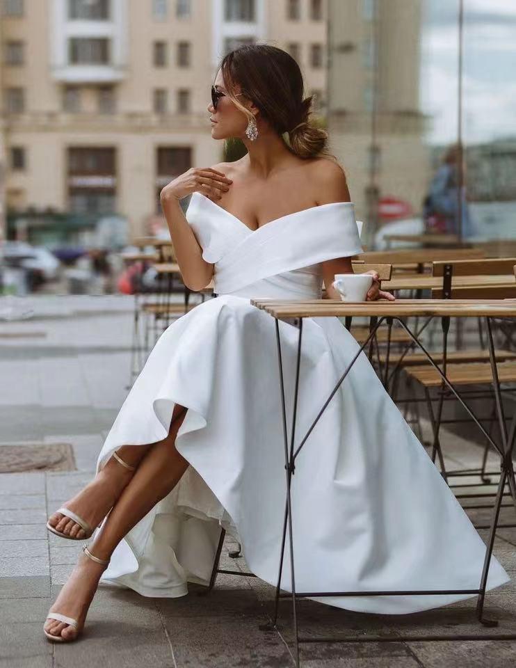 CloverBridal قبالة الكتف المدنية منتصف العجل فساتين زفاف قصيرة للعروس 2021 vestidos دي نوفيا اكسسوارات السيارات WW8380
