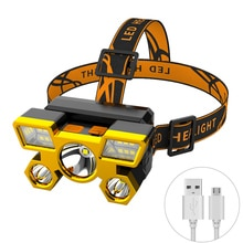 Super Bright LED Headlamp 4 Modes Built-in 18650 Battery USB Rechargeable Waterproof Headlight for Outdoor Camping Hunting
