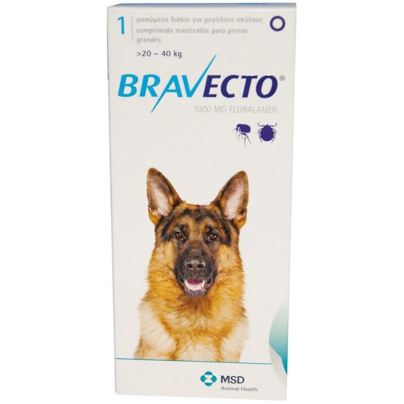 Bravecto DOG 1 сжатый MSD 20 до 40 кг 1000 МГР