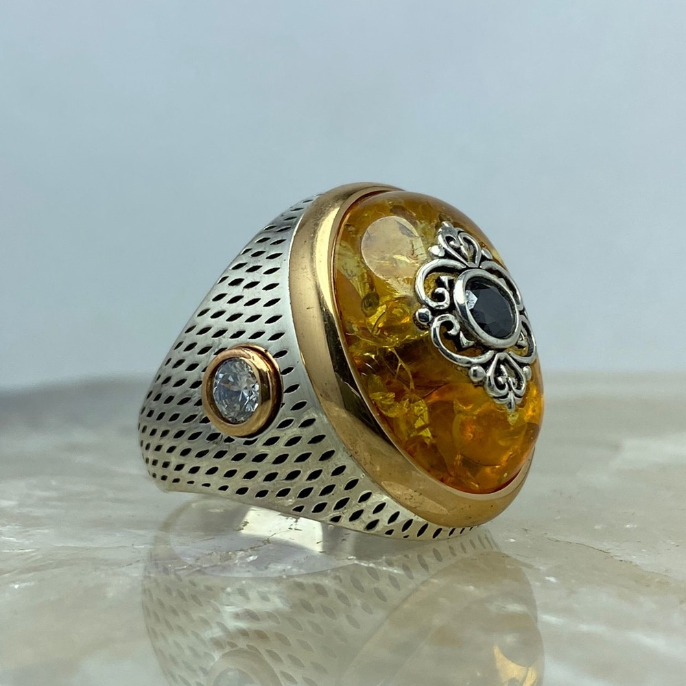 Silver 925 Sterling Turkish Handmade Jewelry Luxury Amber Men's Ring All Size