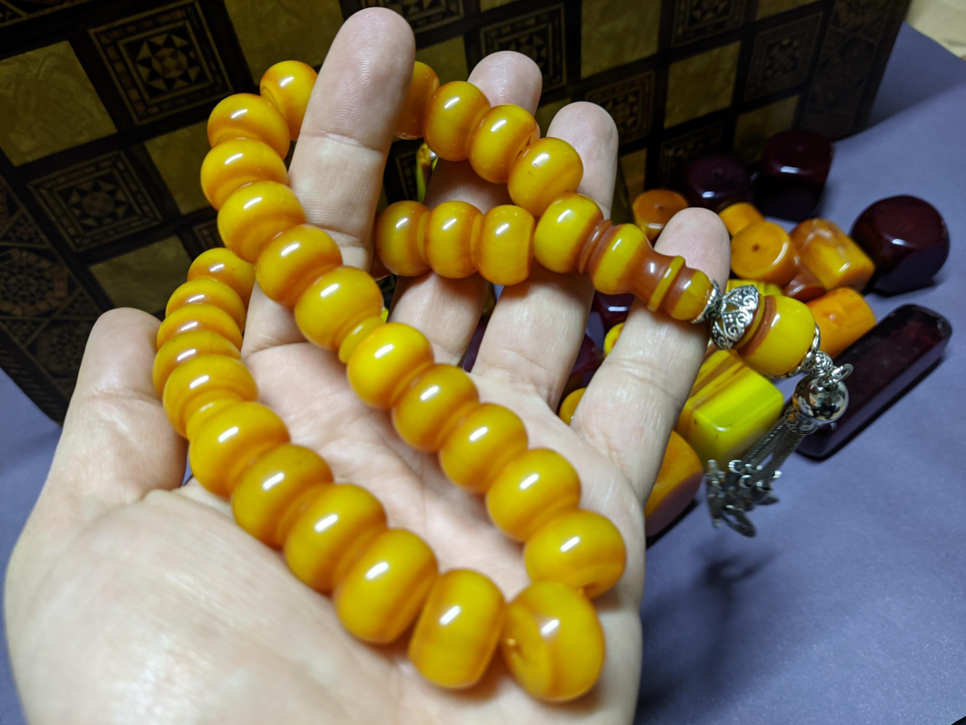 Ottoman Faturan German Amber Sandalous Misbaha Prayer Beads Islamic Gift Tasbih Tasbeeh Tasbeh Rosary Tasbih #31