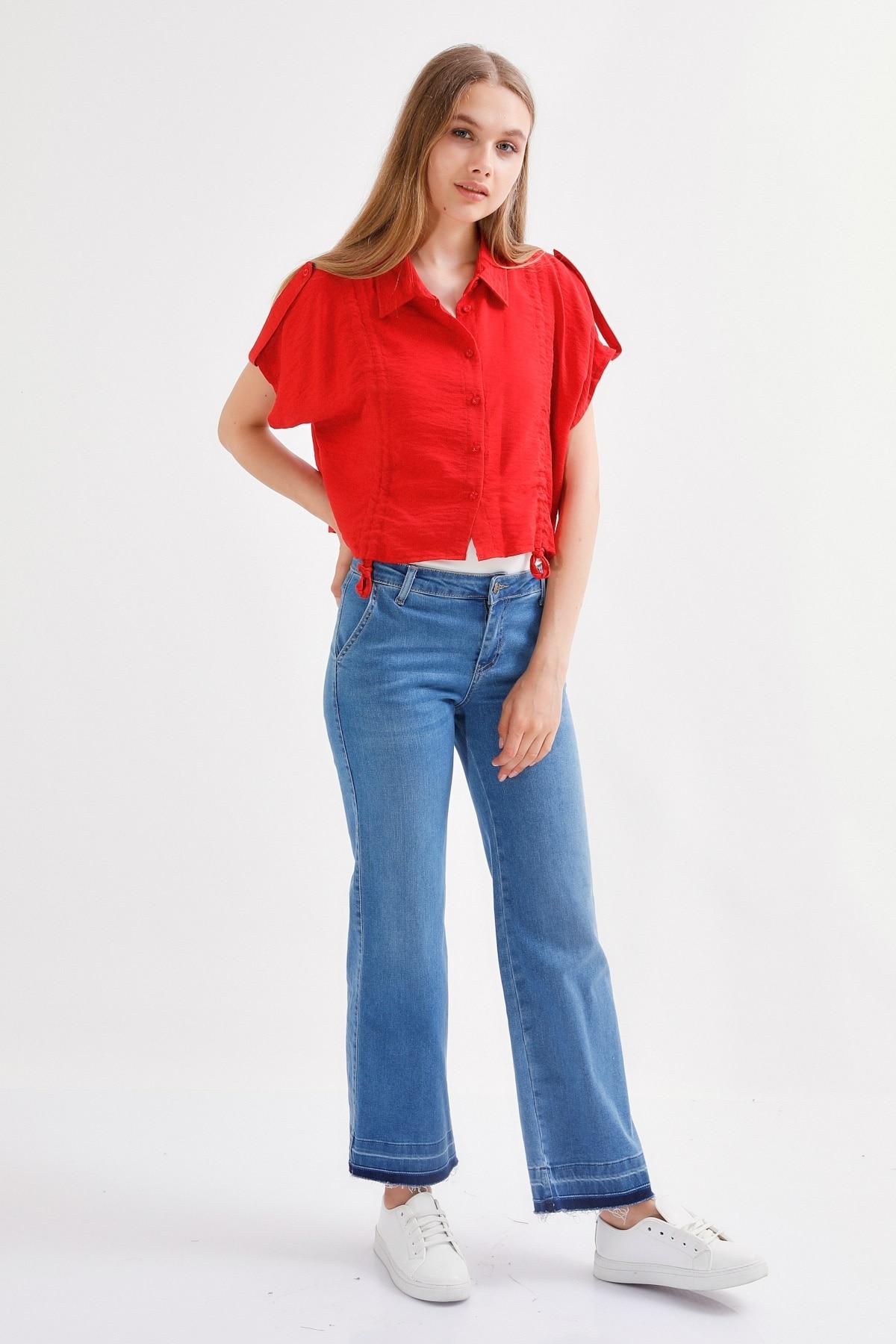Flare ultra lycra jean calças premium-azul escuro