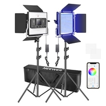 Neewer 2 Of 3 Packs 660 Rgb Led Licht Met App Controle, fotografie Video Verlichting Kit Met Stands En Tas, 660 Smd Leds CRI95