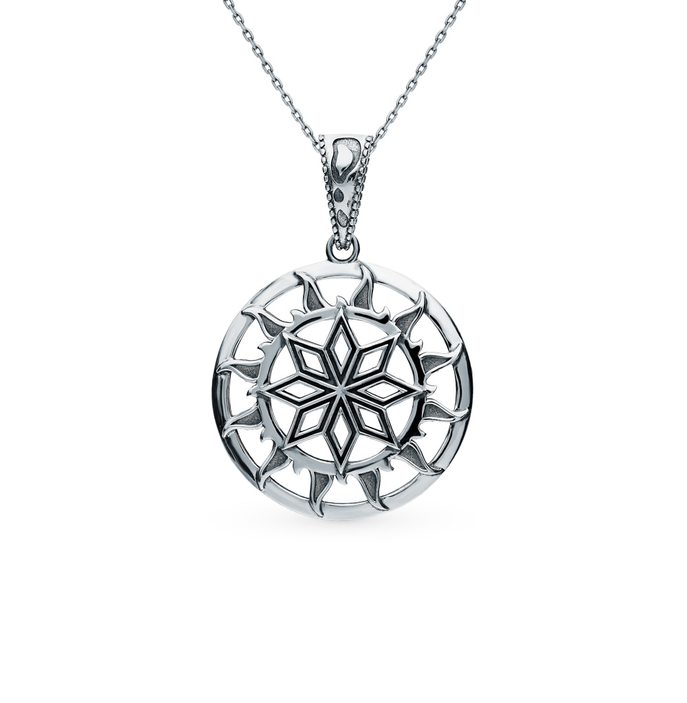 "Pingente de prata-amuleto ""alatyr no círculo solar"" luz solar amostra 925 teste"
