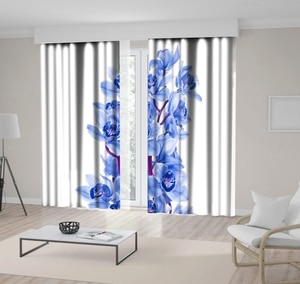 Curtain Orchid Flowers Exotic Tropical Blooms Nature Floral Decorative Artwork Printed Purple White