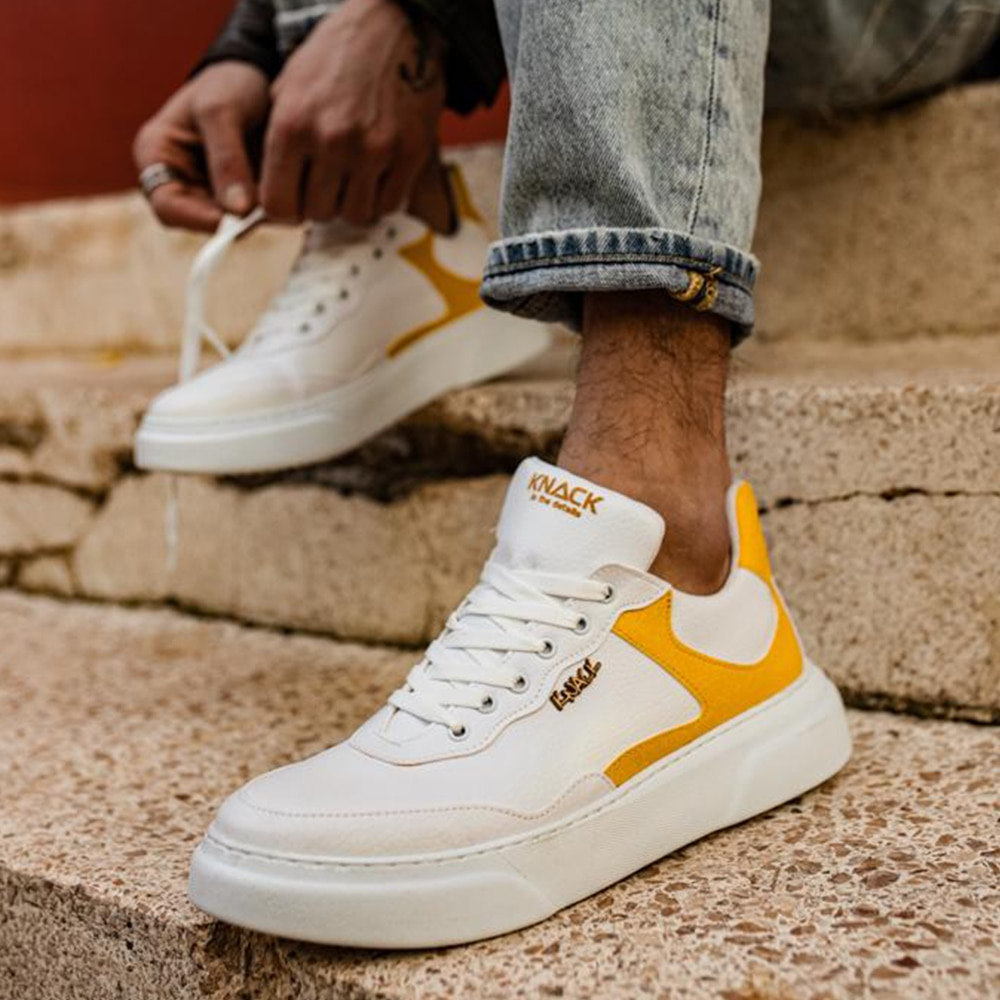 Knack Men's Shoes White and Yellow Artificial Leather Lace Up Mixed Color Sneakers For Autumn 2021 Non-Leather Casual Shoes Men Shoes Shoes For Men With Free Shipping  Mens Shoes Casual Men Sneakers Summer Shoes R10