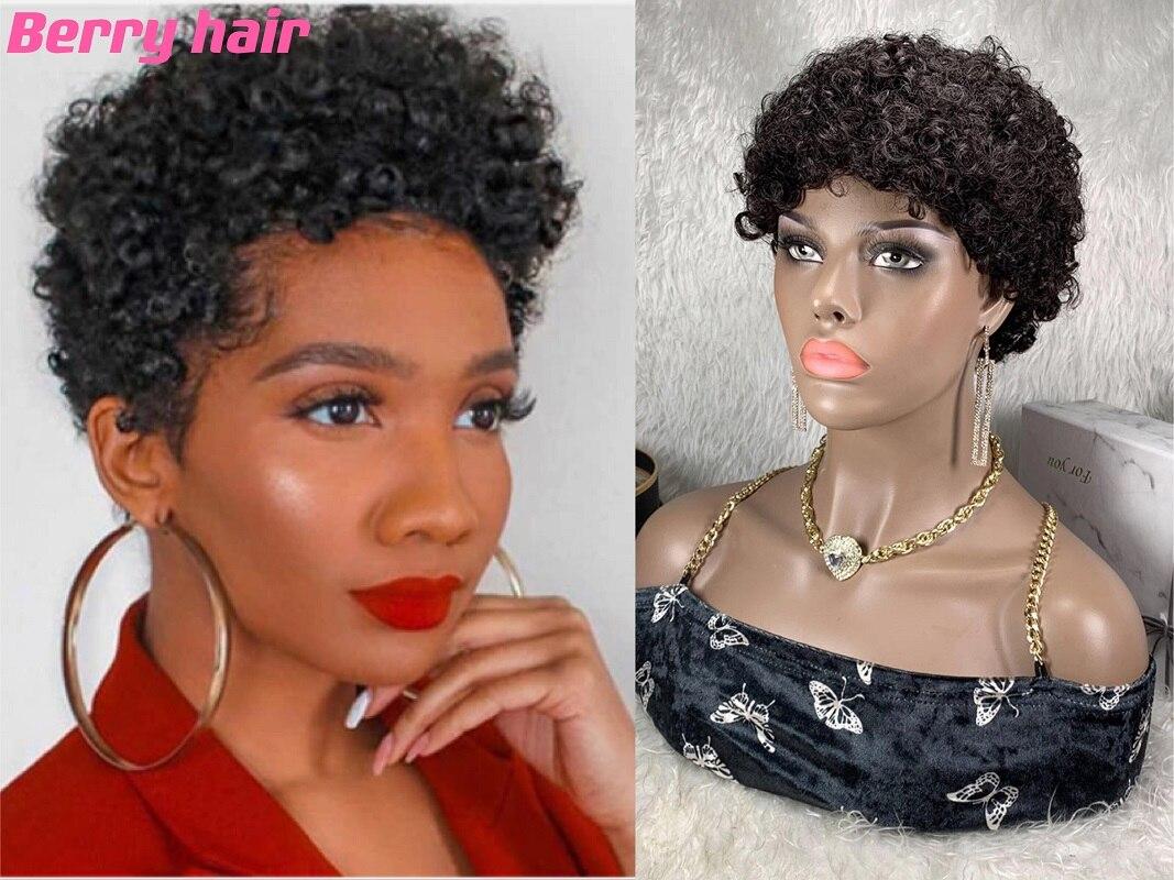 Парик фея из человеческих волос, короткий парик для женщин, 100% бразильский дешевый афро кудрявый вьющийся парик, дешевый парик из человечес...