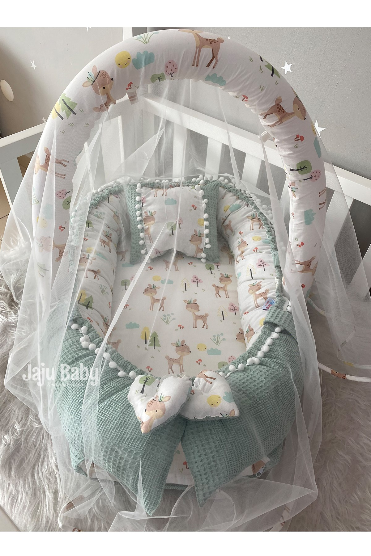 Jaju Baby Special Handmade Wafle Green Pique Fabric Poplin Fabric Pompon Babynest Toy Apparatus and Tulle Set