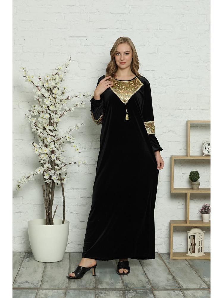 Laila 2021 Black Embroideried Chest and Sleeve Detail Long Winter New Season Velvet Kaftan Dubai Abaya Turkey Hijab Islam Caftan Marocain Long Dresses Vestidos Eid Mubarak European Clothing Musulman Woman Dress Black
