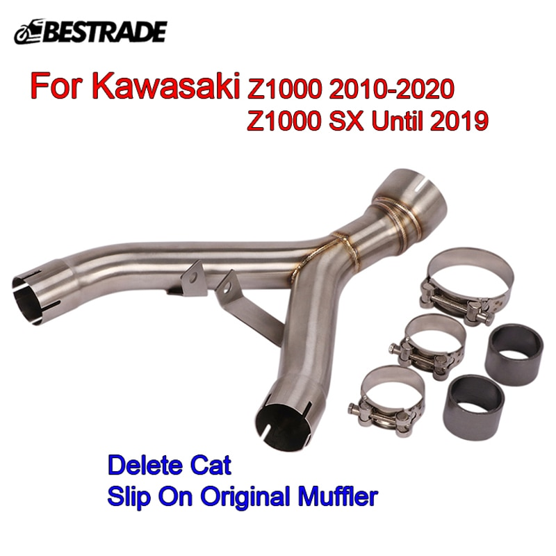 Motorcycle Middle Pipe Stainless Steel Replace Cat Original Connect Link Tubes for Kawasaki Z1000 2010-2020 ZX1000SX 2010-2019