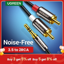 UGREEN RCA Cable HiFi Stereo 2RCA to 3.5mm Audio Cable AUX RCA Jack 3.5 Y Splitter for Amplifiers Au
