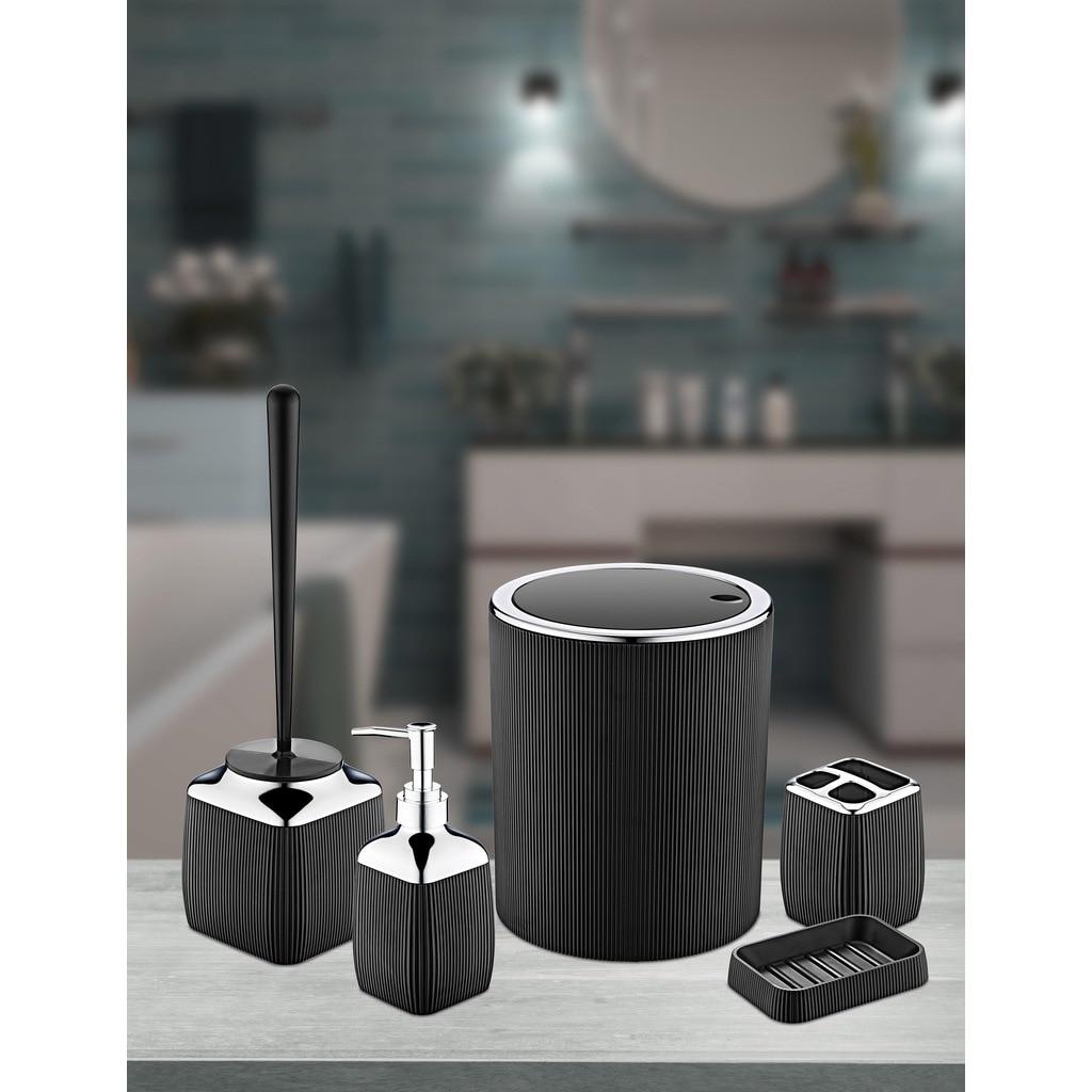 OceanLand Striped Chrome 5 Pcs Bathroom Set Hard Plastic Raw Material Toothbrush Holder Soap Dispenser Toilet Brush Dustbin enlarge