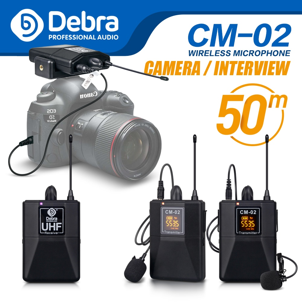 Debra Audio UHF Wireless Lavalier Microphone with 30 Selectable Channels  50m Range for DSLR Camera Interview Live recording uhf wireless lavalier microphone 100 channel lapel microphone for phone video slr camera recording live interview tkl pro wm 8