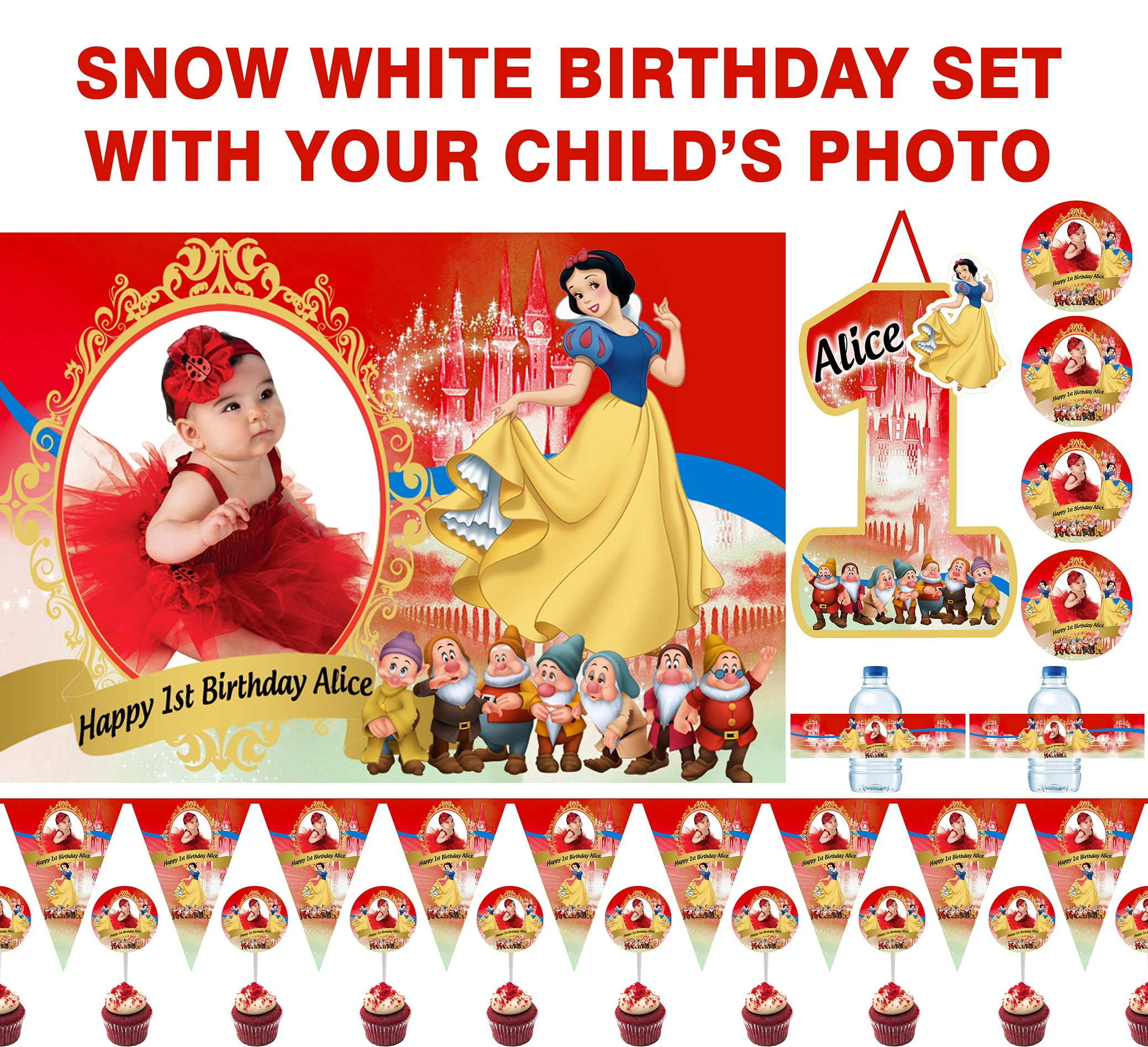 Personalized Snow White Birthday Set photo background, banner, water bottle labels, cupcake toppers, stickers